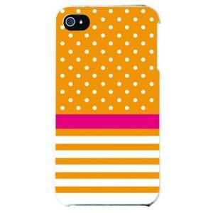 iphone4s カバー iPhone 4S ケース カバー ドット ボーダー オレンジ|isense