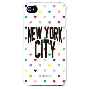 iphone4s カバー iPhone 4S ケース カバー ニューヨーク デザイン NYC マルチハート ハート柄 ハートドットホワイト|isense