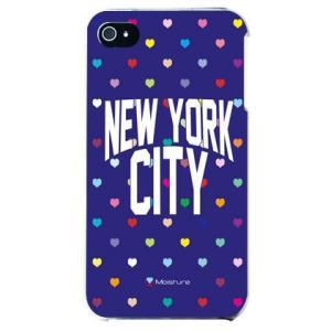 iphone4s カバー iPhone 4S ケース カバー ニューヨーク デザイン NYC マルチハート ハート柄 ハートドットネイビー|isense