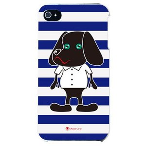 iphone4s カバー iPhone 4S ケース カバー 犬 ドッグ 犬デザイン Doggy Stripe ストライプ ネイビー|isense
