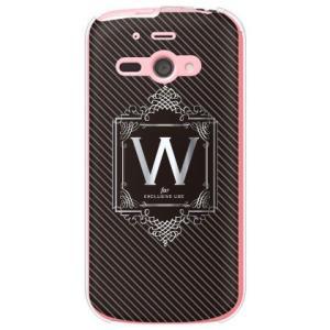 AQUOS PHONE es WX04SH ケース カバー スマホケース ラグジュアリーイニシャル W シルバーグレー