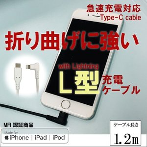 充電ケーブル USB L字 ケーブル Type-C to Lightning iphone用 1.2m|isfactory