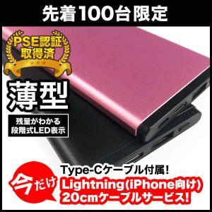 スペシャル企画 iPhone用ケーブル付き モバイルバッテリー 薄型 Type-C入出力対応 5000mAh|isfactory