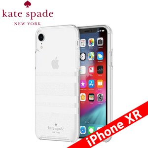 kate spade new york ケイト・スペード ニューヨーク Protective Hardshell Case for iPhone XR - Charlotte Stripe White Glitter/Clear|isfactory