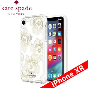 kate spade new york ケイト・スペード ニューヨーク Protective Hardshell Case for iPhone XR - Reverse Hollyhock Floral Clear/Cream with Stones|isfactory
