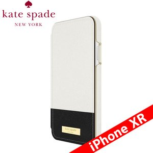 kate spade new york ケイト・スペード ニューヨーク Folio Case for iPhone XR - Color Block Cement/Black/Gold Logo Plate|isfactory