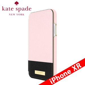 kate spade new york ケイト・スペード ニューヨーク Folio Case for iPhone XR - Color Block Rose Quartz/Black/Gold Logo Plate|isfactory