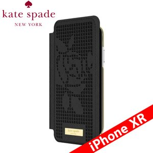 kate spade new york ケイト・スペード ニューヨーク Folio Case for iPhone XR - Perforated Rose Black/Gold Logo Plate|isfactory