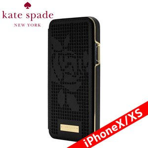 kate spade new york ケイト・スペード ニューヨーク Folio Case for iPhone XS - Perforated Rose Black/Gold Logo Plate|isfactory
