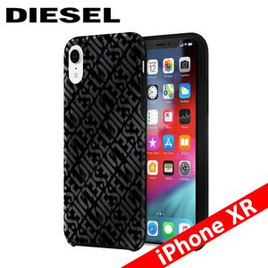 Diesel ディーゼル Printed Co-Mold Case for iPhone XR - Distressed Logo Pattern Black/Back Foil/Black Bumper|isfactory