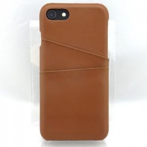 iPhone8/7対応 ステッチ加工 レザー背面ケース ブラウン|isfactory