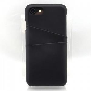 iPhone8/7対応 ステッチ加工 レザー背面ケース ブラック|isfactory