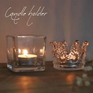 キャンドルホルダー ガラスホルダー シンプル スクエア クラウン 王冠 クリスマス 雑貨 癒し 硝子 ガラス容器 シンプル パーティー 装飾|ishi0424