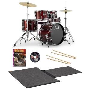 Pearl ドラムセット RS585C/C #91レッドワイン 18BD コンパクトサイズ ビギナー用DVD2枚と特製マット付き限定パック(WEBSHOP)|ishibashi-shops