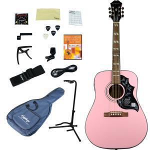Epiphone / Hummingbird PRO Pink (アコースティックギター入門15点セット)(アウトレット特価) エピフォン エレアコ 初心者(WEBSHOP)|ishibashi