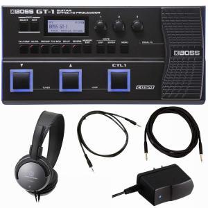 BOSS最新マルチ GT-1とヘッドフォン、ギターシールドケーブル、MP3プレイヤー接続用ケーブルと...
