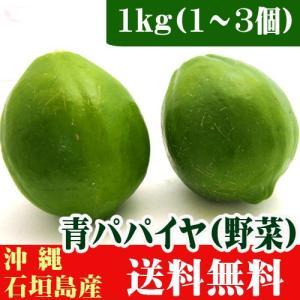 沖縄県石垣島産 青パパイヤ1kg(1〜3個) 送料無料