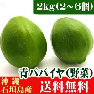 沖縄産 青パパイヤ(野菜) 2kg(2〜6個)  送料無料|ishigakijimanoukatai