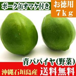 青パパイヤ 7kg お徳用・業務向け 送料無料 ポーク缶オマケ付き|ishigakijimanoukatai