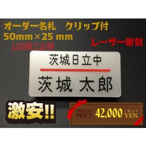 名札 ネームプレート 50mm×25mm アクリル白パール クリップ付 [100個まとめ買いでお得] オーダーメイド|ishikawa-np