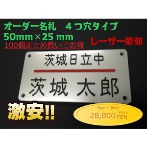 名札 ネームプレート 50mm×25mm アクリル白パール 4つ穴タイプ [100個まとめ買いでお得] オーダーメイド 会社 学校 オフィス|ishikawa-np