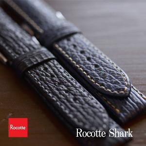 Rocotte シャーク サメ革 18mm,19mm,20mm,22mm,24mm  ブラック ネイビー|ishikuni-shoten