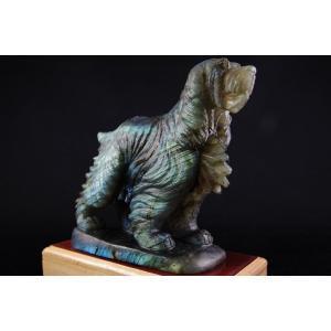 ラブラドライト 犬型彫刻置き飾り|ishino-hana