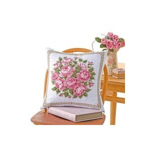 オリムパス クロス・ステッチししゅうキット 美しい花たち クッション スウィートローズ 6054(白)|ishino7