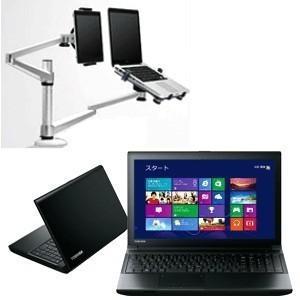 東芝 Windows7 pro ノートパソコン PC PB453MNB4R7AA71 + デュアルアーム セット