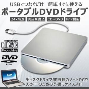USB2.0 ポータブルドライブ スロットイン 外付け 光学ドライブ DVD RW CD 高速24X 読み 書き シンプル CM-RINGODRIVE