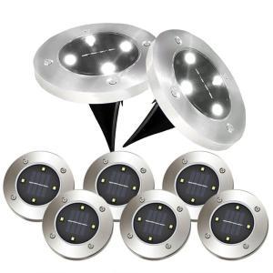 埋め込み式 ソーラー ライト LED 8個セット 4LED 電気代0円 自動点灯 スポットライト 防水対応 ガーデン 玄関 屋外照明 太陽光充電 遊歩道 庭 夜間 8-GADEN-WH ishino7