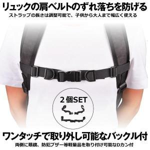チェストストラップ 2本セット リュック ランドセル カバン 肩紐 リュック 肩ずれ 防止 調整可能 Dカン ブラック CHESRAP
