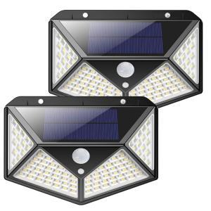 センサーライト 屋外 LED ソーラー 2個セット 人感 太陽光 防雨 防水 100LED 爆光 広範囲 センサー 広範囲 照射  防犯 照明 玄関 2-YOMESENSAR ishino7