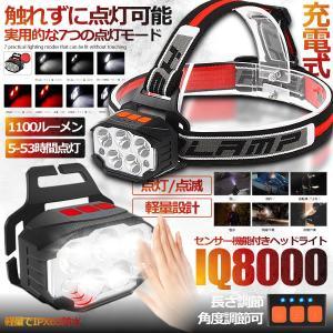 ヘッドライト 充電式 センサー機能付き 赤 白 LEDライト IPX65防水 軽量 1100ルーメン 角度調整可 作業 釣り DIY HEHOHEHO ishino7