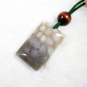 フォッシルアゲート コーラルアゲート 菊目石 サンゴの化石 ペンダント 写真現物|ishinomise