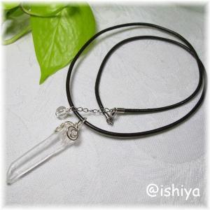 水晶ナチュラルポイント革ひもチョーカー特別価格(天然石・パワーストーン) ishiya