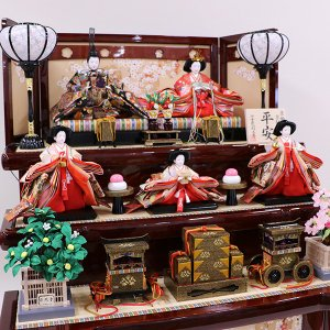 【千匠】雛人形 衣装着三段五人飾り「平安雛」 ishizaki 04