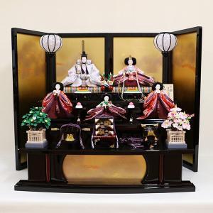 【千匠】雛人形 衣装着三段五人飾り 落とし屏風飾り「平安雛」|ishizaki