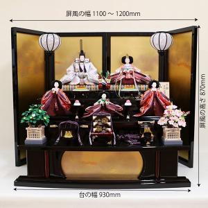 【千匠】雛人形 衣装着三段五人飾り 落とし屏風飾り「平安雛」|ishizaki|03