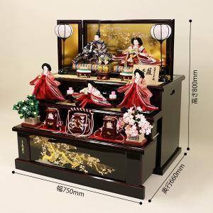 【久月】ひな人形 コンパクト収納三段五人飾り 束帯十二単姿新王官女飾り「よろこび雛」|ishizaki|02