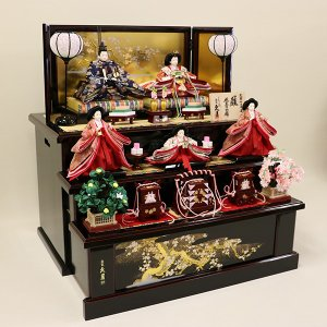 【久月】ひな人形 コンパクト収納三段五人飾り 束帯十二単姿新王官女飾り「よろこび雛」|ishizaki|09
