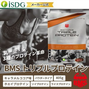 BMSシリーズ 3種のプロテイン 国産 BMS トリプルプロテイン キャラメルココア味 405g 約15日分|ishokudogen-store