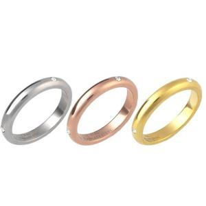 (メール便送料無料)シンプル ジルコニア付き ステンレスリング 選べる3色|isis-jennie