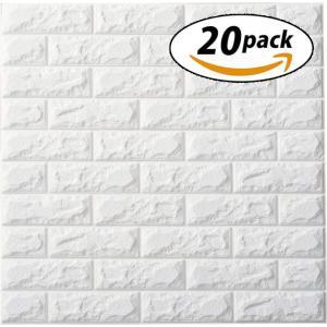 ISL ウォールステッカー 白レンガ調(アルミ仕様) 3Dクッション壁紙 70cm×77cm 20枚...