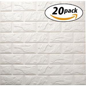 ISL ウォールステッカー ヴィンテージレンガ調 ホワイト 3Dクッション壁紙 60cm*60cm ...