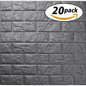 ISL ウォールステッカー ヴィンテージレンガ調 メタリックグレー 3Dクッション壁紙 60cm*6...