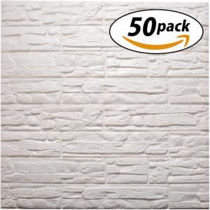 ISL ウォールステッカー レンガ調 荒目柄 白 3Dクッション壁紙 70cm×77cm 50枚セッ...