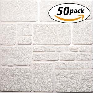 ISL ウォールステッカー 石目調 白 3Dクッション壁紙 70cm×70cm 50枚セット
