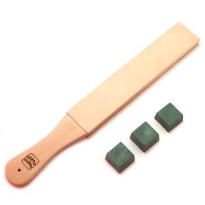 切れにくくなった革包丁、ナイフ、スーベルカッター等のための研磨用青砥(ルージュスティック)と研磨用の...