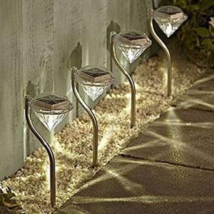 送料無料 ガーデンライト ソーラー LED 4個 4本セット おしゃれ ダイヤモンド型 ダイヤ型 白 暖白 七色の3カラー 庭 ガーデン 上品|isozaki-store